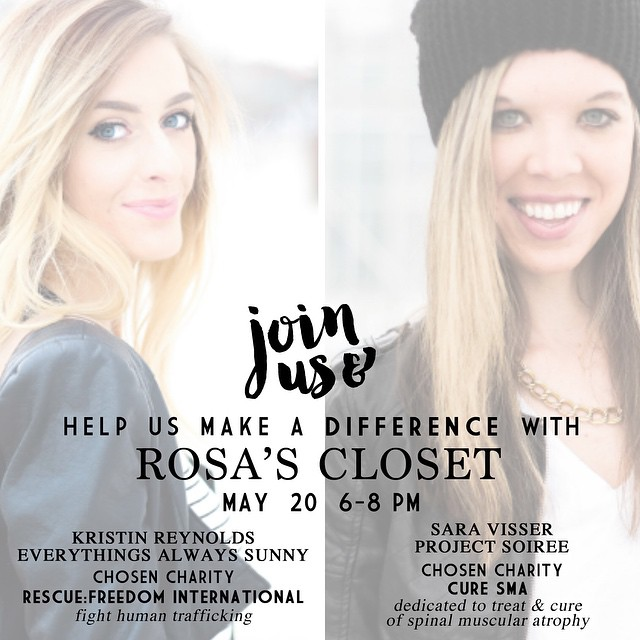 Join @projectsoiree and myself at @rosas_closet May 20th from 6-8 for a fun Sip and Shop night with fun discounts! Also a percentage of the proceeds from that night will go to two charities @projectsoiree and I have chosen. Come hang, shop and support @rescuefreedom & @curesmaorg! We'd love to see you!