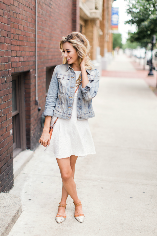 white summer dress jean jacket