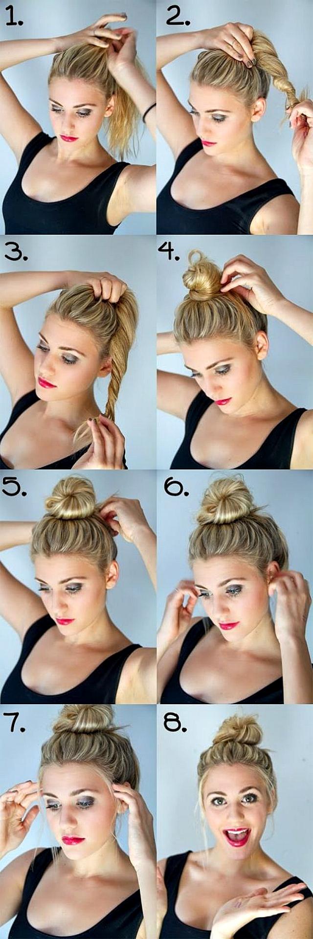 Как сделать причёску пучок для коротких волос